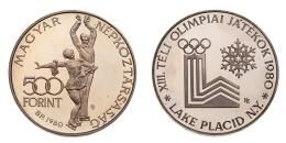 Ezüst 500 forint 1980 téli olimpia Lake Placid, PIEFORT, 78 g!