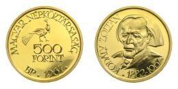 Arany 500 forint 1967 Kodály Zoltán, 42.05 g Au .900