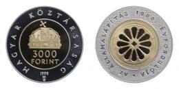 Ezüst 3000 forint 1999, államalapítás PP, 31.46 g Ag .925