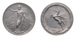 A. Scharff: KINCSEM versenyló ezüst érem 1874, 45 mm, 37.1 g