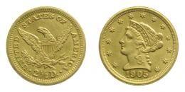 USA arany 2 1/2 dollár 1905, 4.18 g .900