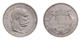 Ferenc József 5 korona 1900 K.B., rozettás ARTEX utánveret