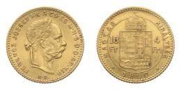 Ferenc József arany 4 forint 1891 Fiume címerével KB, 3.22 g Au .900