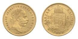 Ferenc József arany 4 forint 1874 KB, 3.22 g Au .900
