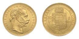Ferenc József arany 8 forint 1880 KB, 6.45 g Au .900