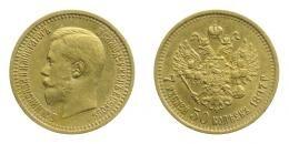 II. Miklós arany 7 rubel 50 kopek 1897, 6.45 g Au .900