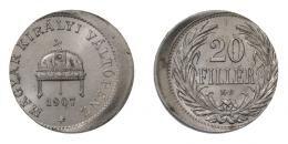 Ferenc József 20 fillér 1907 KB, hibás veret, UNC, R!