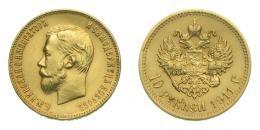 Oroszország, II. Miklós arany 10 rubel 1911, 8,60 g Au .900