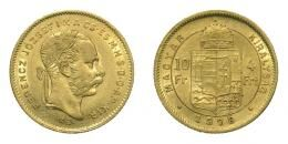 Ferenc József arany 4 forint 1878 KB, 3.22 g Au .900