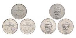 LOT 3 db: ezüst 200 forint 1995, 1997, 1998