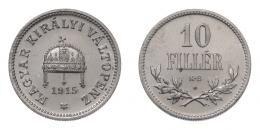 10 fillér 1915 KB, rozettás ARTEX utánveret, CuNi, RRR!