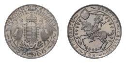 5 pengő 1929 Szent László, jelöletlen ARTEX utánveret, RRR!