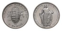5 pengő 1938 álló Szent István, UP jelölés kétoldalt, ARTEX utánveret