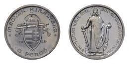 5 pengő 1938 álló Szent István, UP jelölés fent, ARTEX utánveret