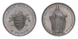 5 pengő 1938 álló Szent István, jelöletlen utánveret, RRR!