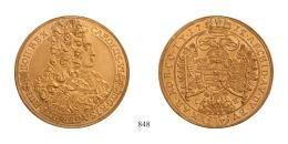 Karl III. 10 Dukát <br>(Au) 1715 Pozsony /Pressburg/<br>Unikum! Erstabschlag! Prachtexemplar! stempelfrisch