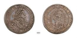 Leopold Doppeltaler <br>(Ag) 1687 Neustadt, <br>RR! Patina! vorzügliches Prachtexemplar!