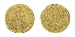 Ferdinand III. 10 Dukát <br>(Ag) 1635 Nagybánya /Neustadt/, <br>RRR! Erstabschlag! Perfekt ausgeprägtes Prachtexemplar! stempelfrisch