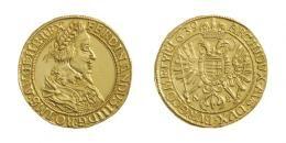 Ferdinand III. 10 Dukát 1639<br> (Ag) Nagybánya /Neustadt/, <br>RRR! feinste Goldpatina!