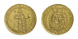 Leopold (1657-1705)<br>5 Dukát (Au) 1674 Körmöcbánya /Kremnitz/<br>prächtige Goldpatina! vermutlich das schönste existierende Exemplar! vorzüglich-stempelfrisch