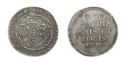 Báthori Gábor (1608-1613)<br>1/2 Tallér /Gulden/ (Ag) 1611 Szeben /Hermannstadt/<br> a szokásos verôtôhiba /üblicher Stempelfehler/ 150 aranykorona! /Goldkronen/ Patina! RRR! MNM:-, gutes sehr schön