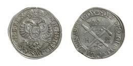 II. Rudolf (1576-1608)<br>Szeben-Hermannstadt (1605) als Anhängerin des Kaisers Rudolf II<br>Tallér (Ag) 1605 Szeben /Hermannstadt/<br>publikálatlan verôtôvariáció! unedierte Stempelvariante! RRR! MNM:-, fast vorzüglich