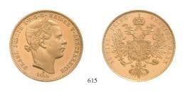 Ferenc József (1848-1916)<br>Probe zu 10 Gulden 1855 (Au) Bécs /Wien/<br>Von allergrösster Seltenheit! Vermutlich Unikum! Polierte Platte