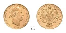 Ferenc József (1848-1916)<br>Probe zu 5 Gulden 1855 (Au) Bécs /Wien/<br> Von allergrösster Seltenheit! Vermutlich Unikum!
