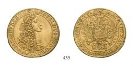 Lipót (1657-1705)<br>10 Dukát (Au) 1666 Körmöcbánya /Kremnitz/<br>alig látható fülnyom, kis karc /kaum sichtbare Henkelspur und kl. Kratzer/ R! fast vorzüglich