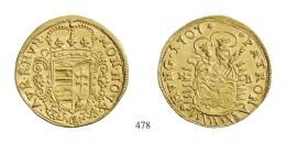 II. Rákóczi Ferenc (1703-1711)<br>Aranyforint /Goldgulden/ 1707 Nagybánya /Neustadt/<br>kis lapkahiba / kl. Schrötlingsfehler/ RR! vorzüglich-stempelfrisch