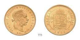 Ferenc József (1848-1916)<br>4 Forint (Au) 1892 Körmöcbánya /Kremnitz/<br> RRR! gutes vorzüglich
