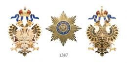 ORDER OF WHITE EAGLE, TYPE II WITH SCROLLS BENEATH CROWN<br> Set - one Class only Sash Badge and Breast Star, pre-1896, by Albert Keibel (1882-1910), Gilded eight-rayed silver breast star. 88 mm St. Petersburg, <br>Extremely Fine and Choice