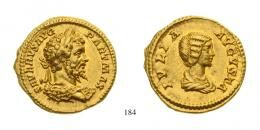 Septimius Severus (A.D. 193-211) Aureus Au AD 201 Rome mint, Tiny struck on head. Two magnificent portraits of excellent style, very rare good Extremely Fine