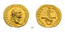 Domitian as Caesar (A.D. 69-81) Aureus Au A.D. 79 Rome mint, underlying luster, rare nearly Extremely Fine to Extremely Fine