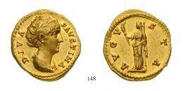 Aureus Au Diva Faustina (Died A.D. 141) struck under Antoninus Pius Rome mint, underlying luster Extremely Fine to about Uncirculated
