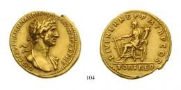 Hadrian (A.D. 117-138) Aureus Au A.D. 117 Rome mint, about Extremely Fine to Extremely Fine