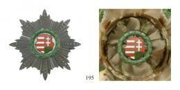 Kossuth Érdemrend 1948-50I. osztályú-szett. I. osztályú jelvény piros-fehér-zöld szegélyezésű fehér vállszalagon, az I. osztályú Csillaga,