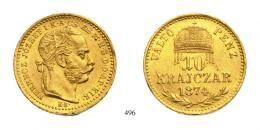 I. Ferenc József (1848-1916)Goldabschlag von 10 Kreuzer, Probeprägung, Au, 1874, Kremnitz<br />K-B<br />Unikum!<br />winz. Randfehler<br /> vorzüglich