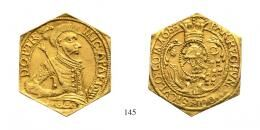 Apafi Mihály (1661-1690)<br />Aranyforintcsegely /sechseckige Goldguldenklippe/ , Au , 1685, A:-F. <br />60 aranykorona! /Goldkronen/ R!<br />vorzüglich