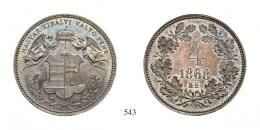 4 Krajcár ezüsleveret /Silberabschlag/ (Ag) 1868 Körmöcbánya /Kremnitz/ <br> Patina! RRR! Prachtexemplar! Aus der Sammlung des Königs Farouk! <br>stempelfrisch