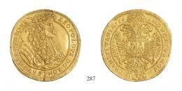 I. Lipót (1657–1705) 10 Dukát <br />RR! 120 aranykorona! /Goldkronen/ <br />átvésett mező és relief /Feld und Relief umgraviert/ <br />vorzüglich <br />