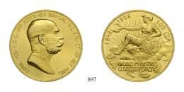 Ferenc József (1848-1916), 100 Korona, Au, 1908, Wien<br>fast stempelfrisch aus polierter Platte