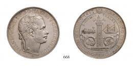 Ferenc József (1848-1916), 2 Vereinstaler, Ag, 1857, Wien<br>fast stempelfrisch-stempelfrisch aus polierter Platte