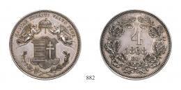 Ferenc József (1848-1916), 4 Krajcár ezüstveret, Ag, 1868, Körmöcbánya<br> stempelfrisch